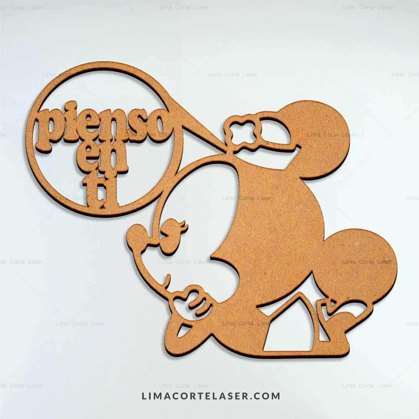 Corte láser MDF con la figura Minnie Mouse ideal para decorar una pared