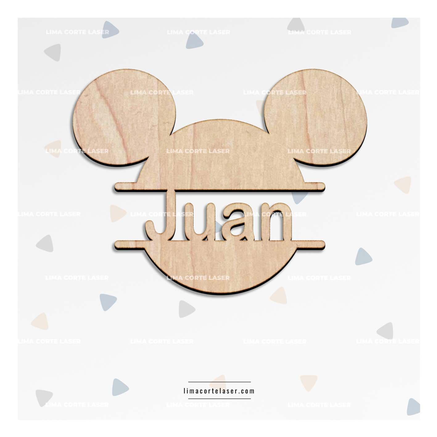 Regalo personalizado para bebe con la figura de Mickey Mouse y el nombre Juan