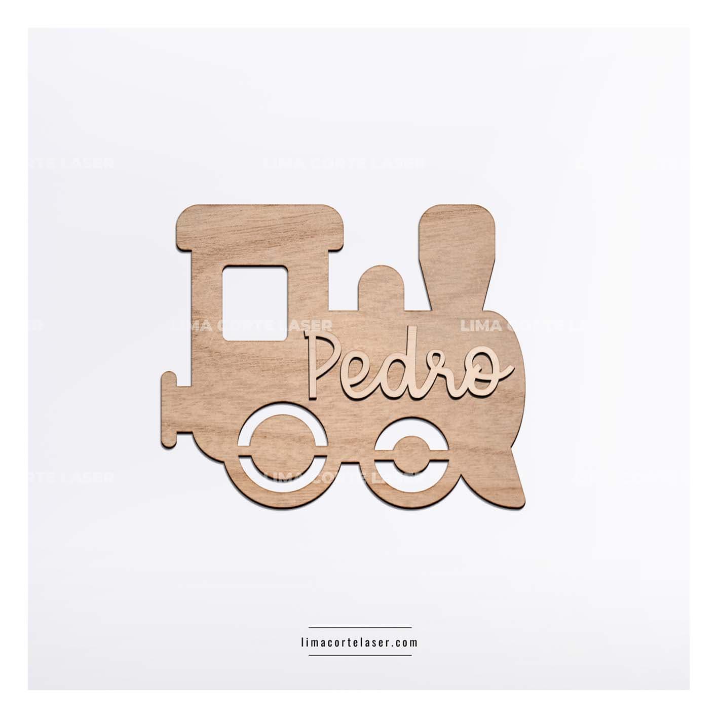 Regalo personalizado para bebe con la figura de un tren y el nombre Pedro