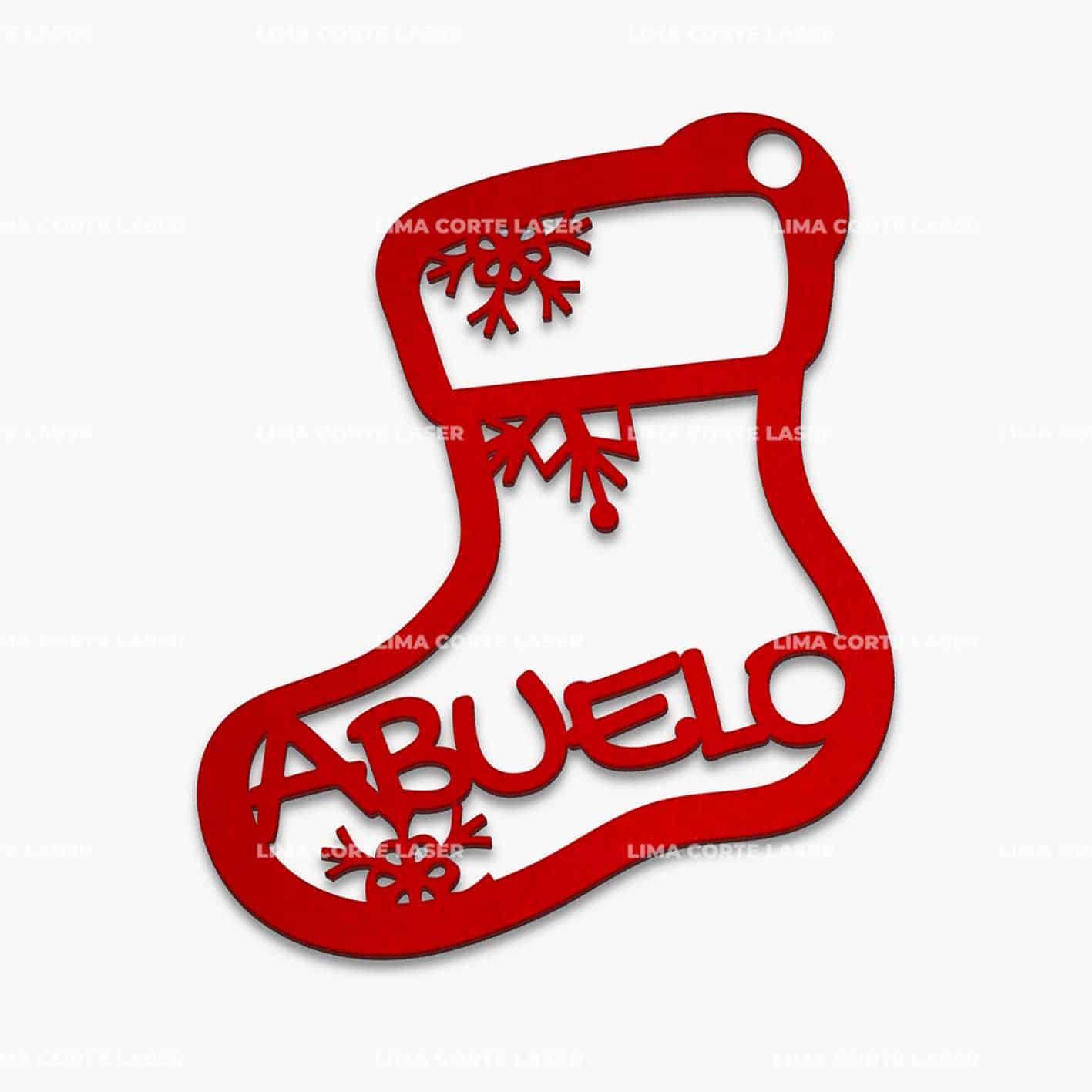 Adorno navideño personalizado con forma de bota de navidad y la palabra abuelo