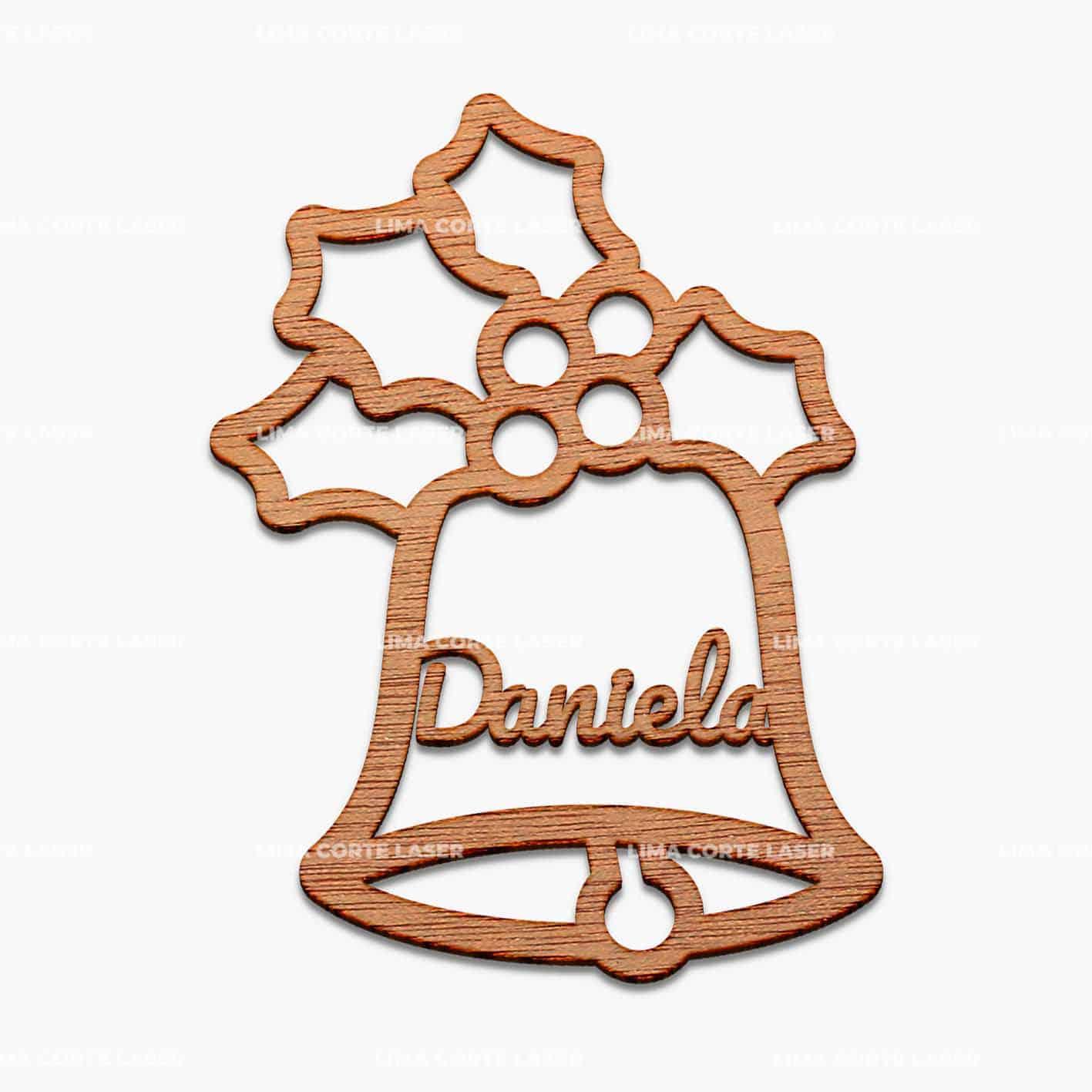Adorno navideño personalizado con forma de campana de navidad y nombre Daniela