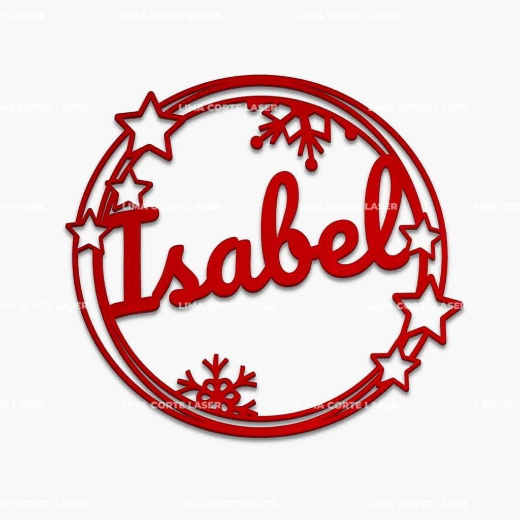 Adorno navideño personalizado con forma de corona de estrellas y copo de nieves con nombre Isabel
