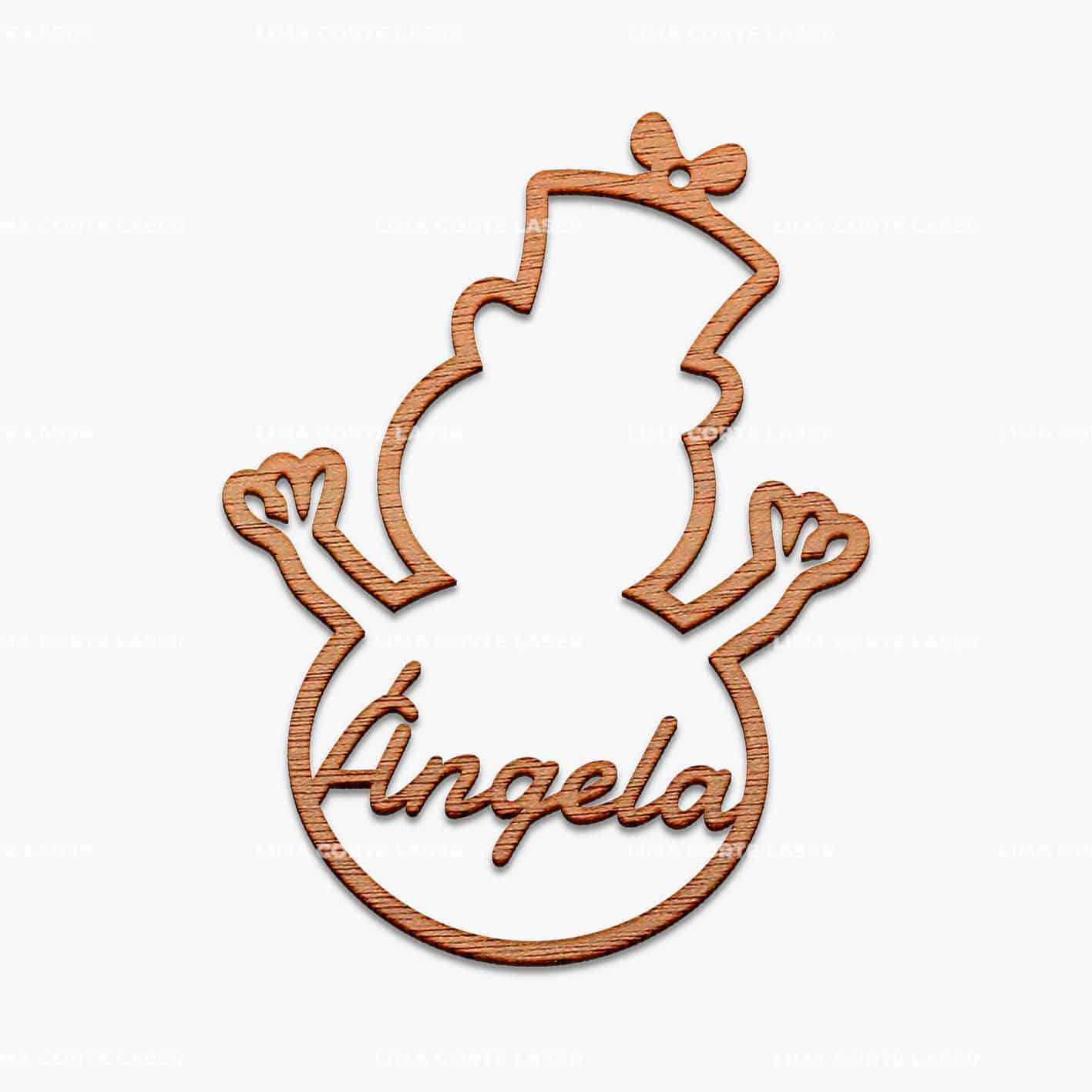 Adorno navideño personalizado con la forma de un muñeco de nieve y el nombre de Ángela