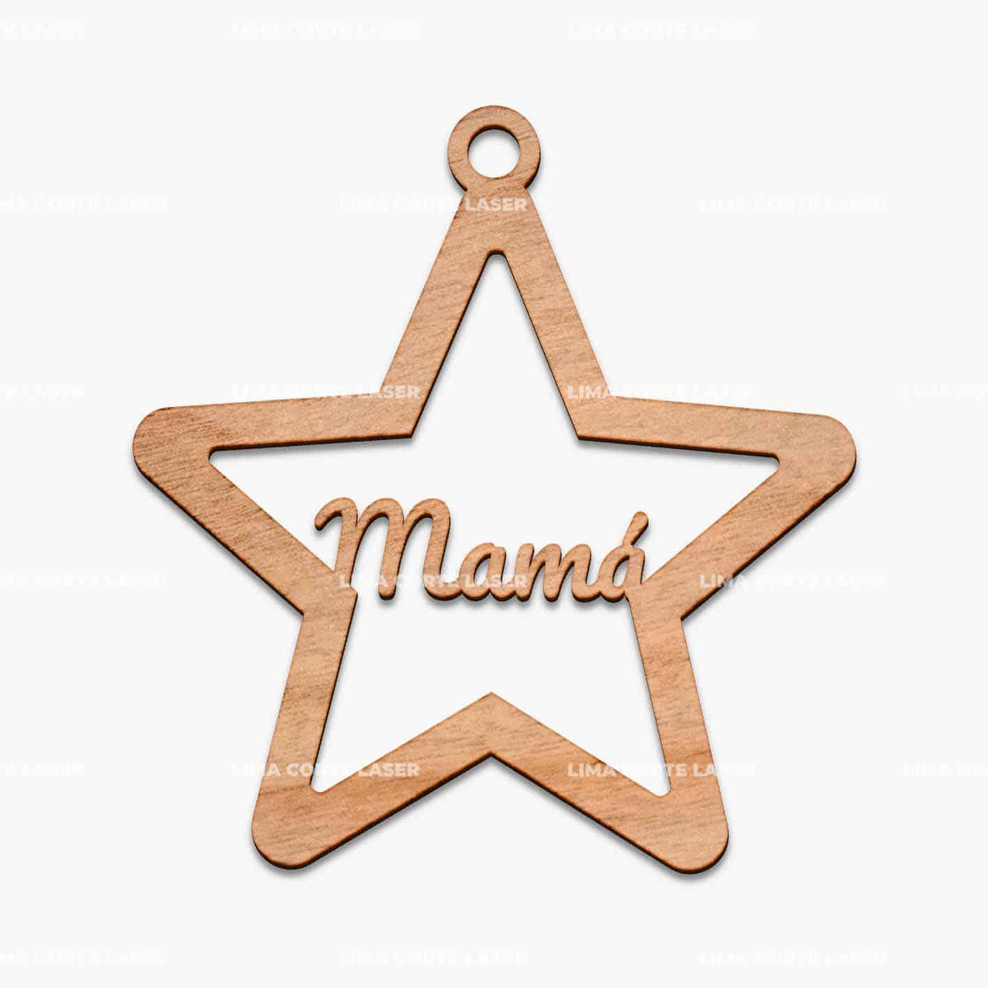 Adorno navideño personalizado con la forma de una estrella y la palabra mamá