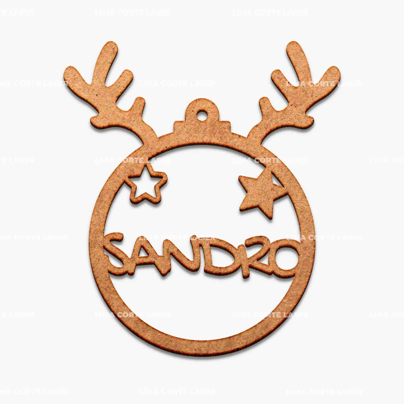 Bolas de Navidad personalizadas de madera calada con forma de reno y nombre Sandro