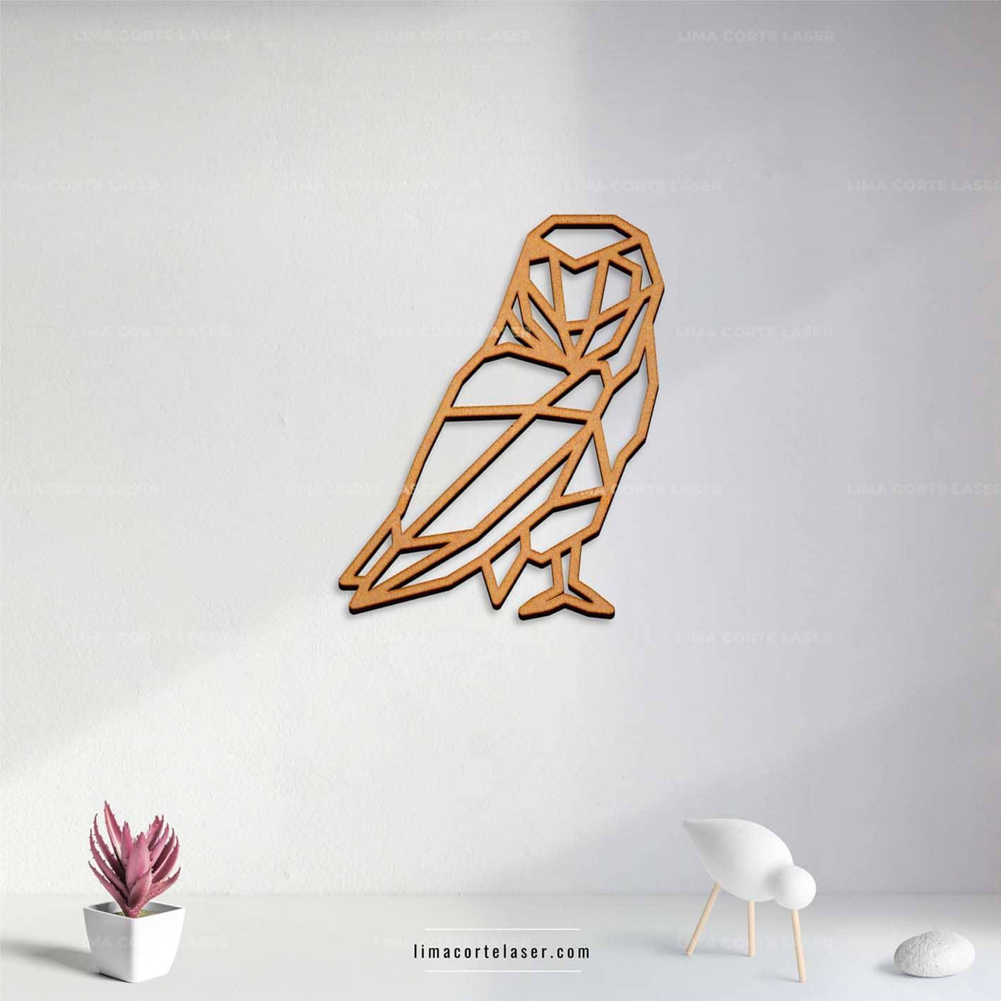 Corte láser MDF con la figura de búho geométrico ideal para un adorno para pared