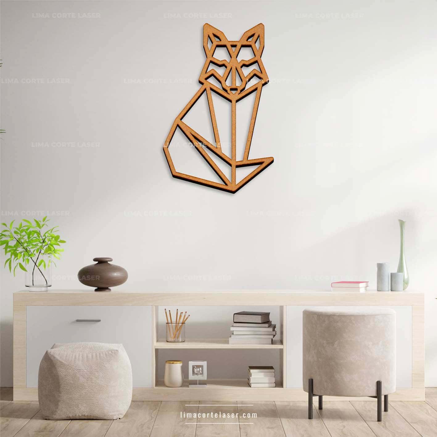 Corte láser MDF con la figura de un zorro geométrico ideal para un adorno para pared