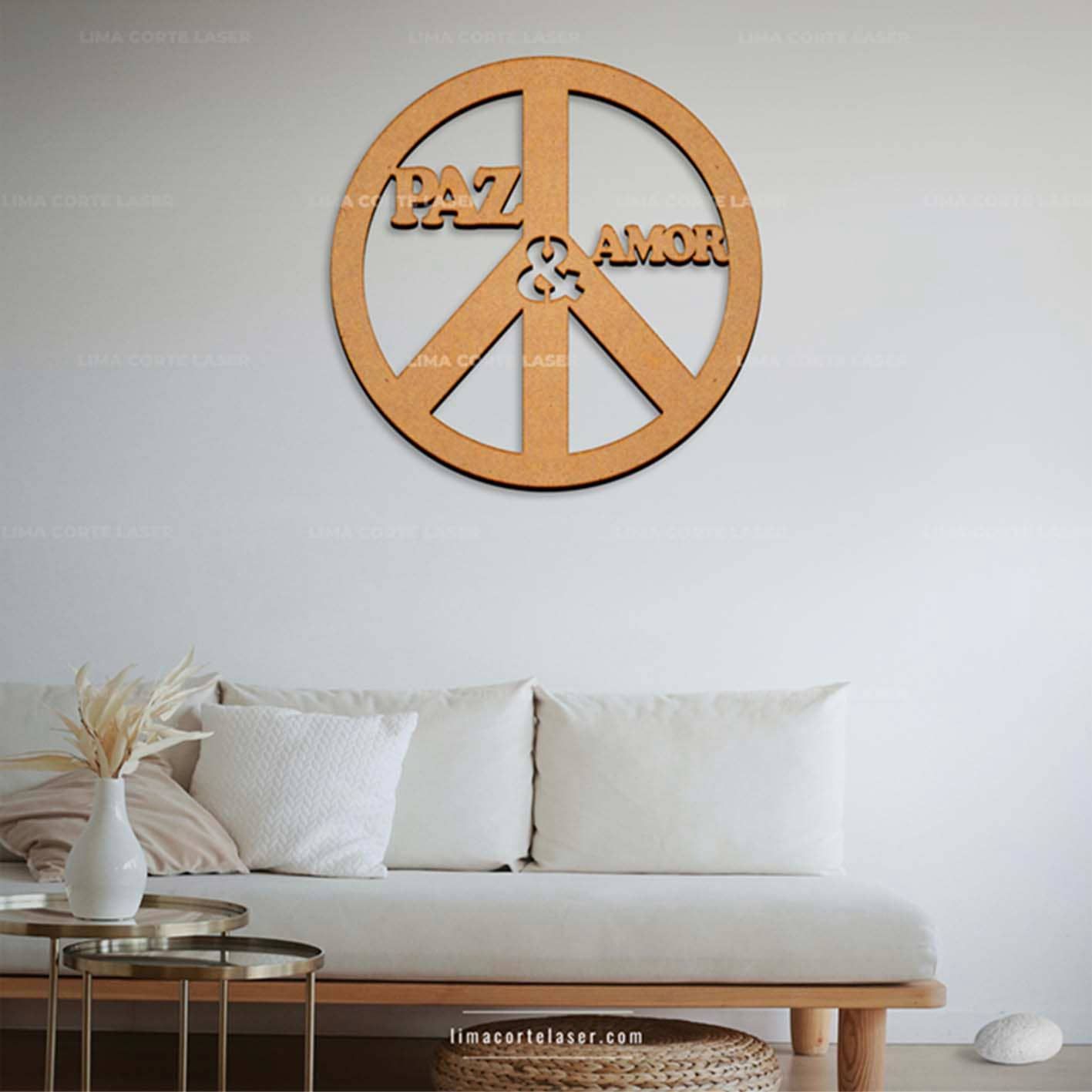 Corte láser MDF con la figura símbolo paz y amor ideal para un adorno para pared