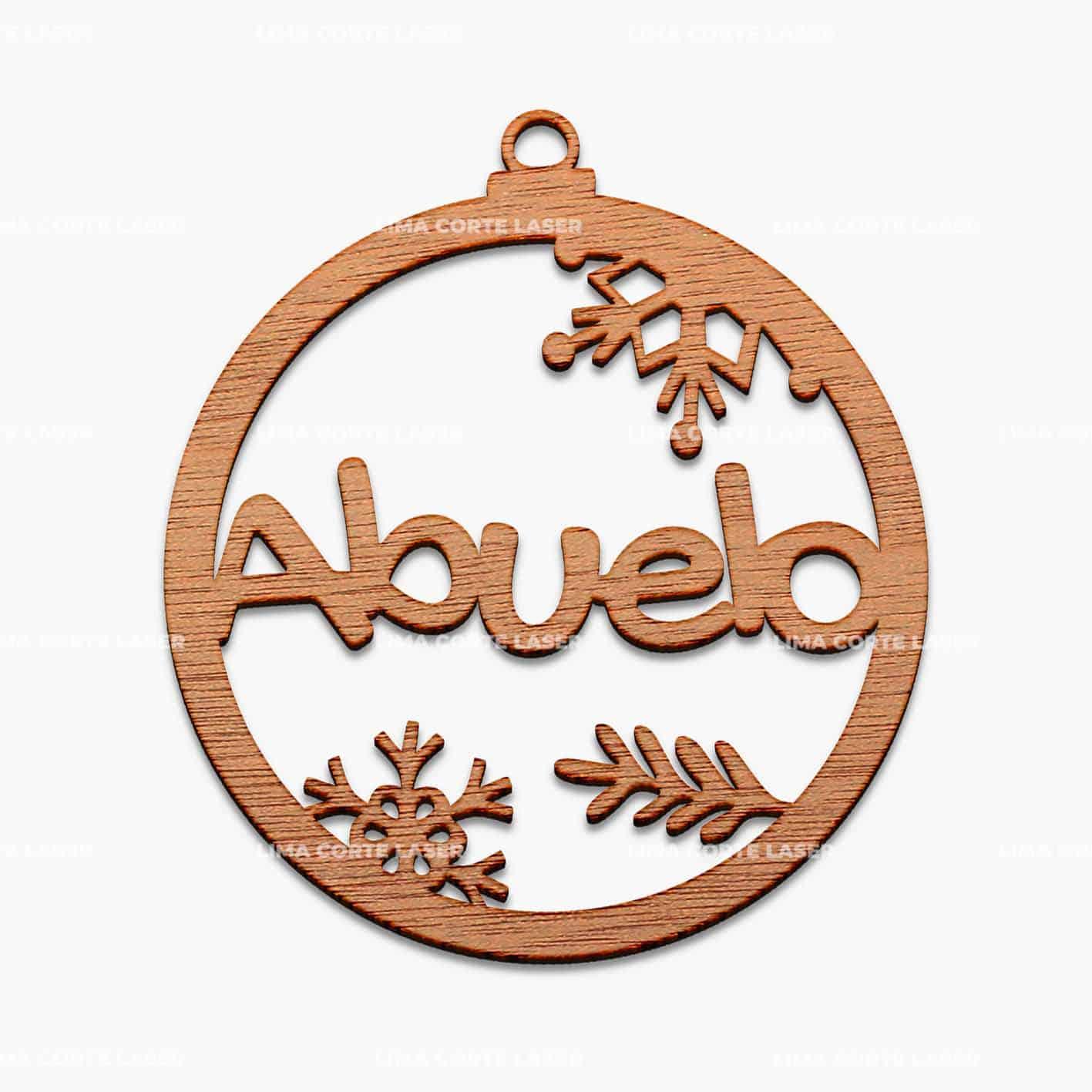 Esfera navideña de madera personalizada con la palabra abuelo