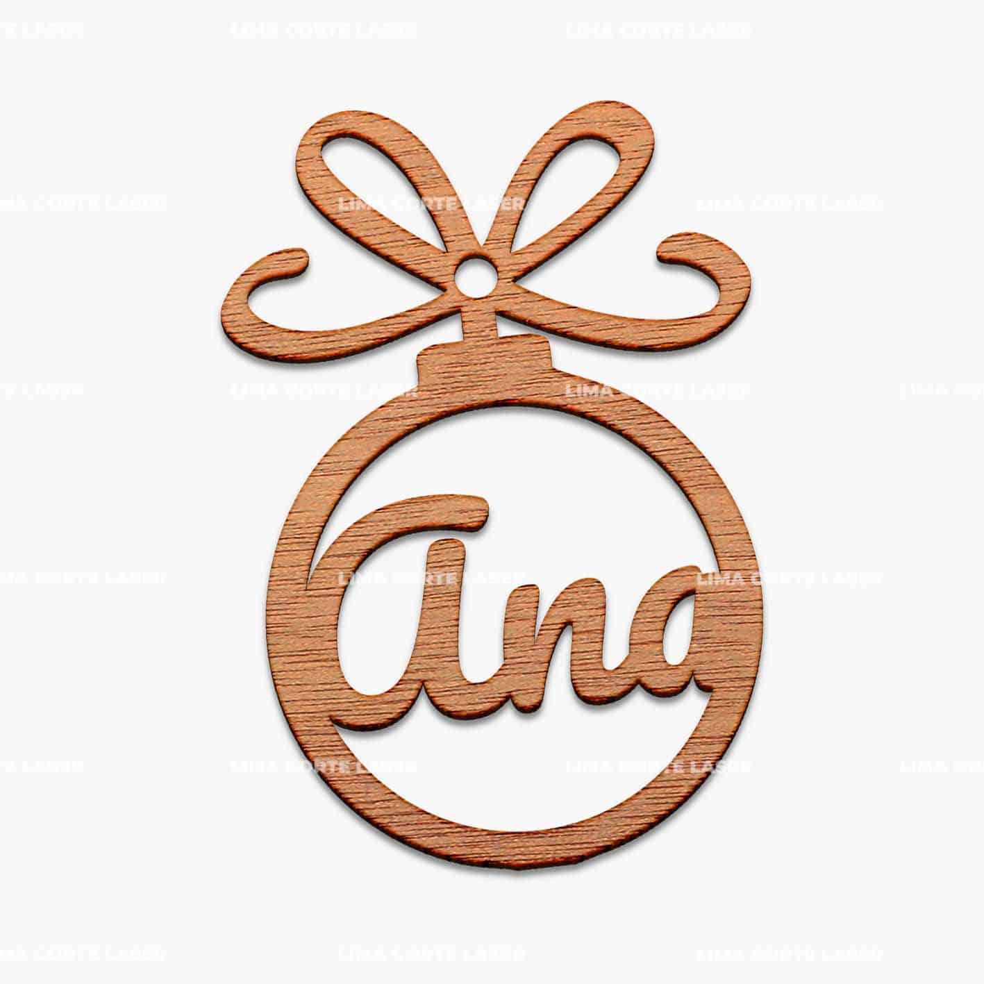 Esfera navideña de madera personalizada con nombre Ana
