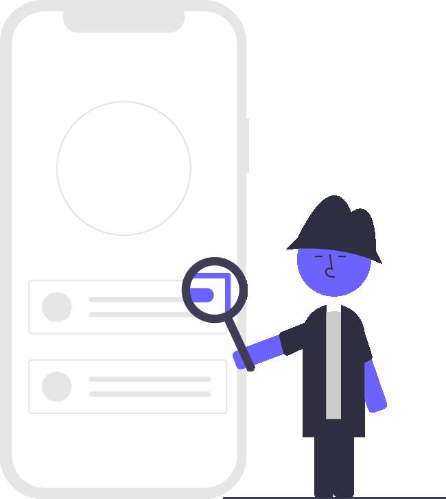 Ilustración de persona buscando en internet