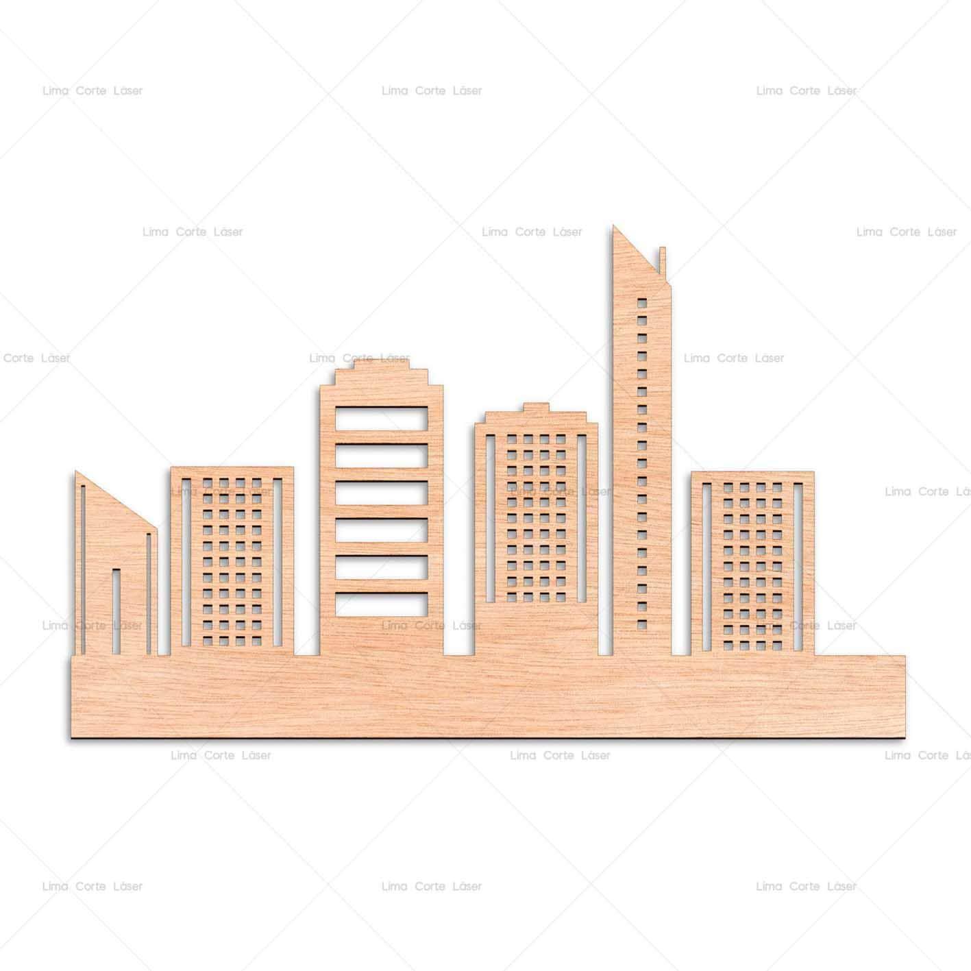 Maqueta de edificios hecha de madera y cortado a láser