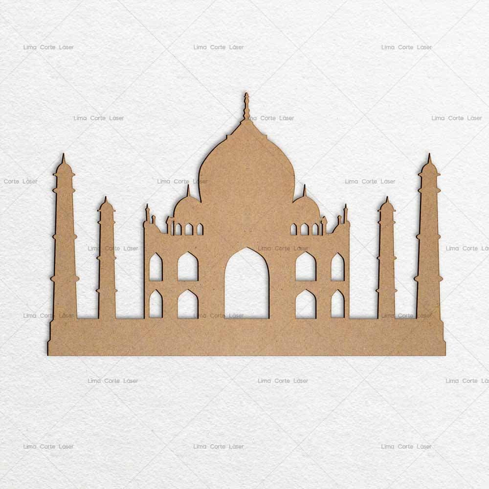 Silueta del Taj Mahal hecho de mdf y cortado con láser