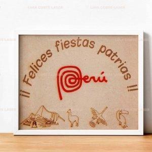 Cuadro felices fiestas patrias Perú grabado con láser