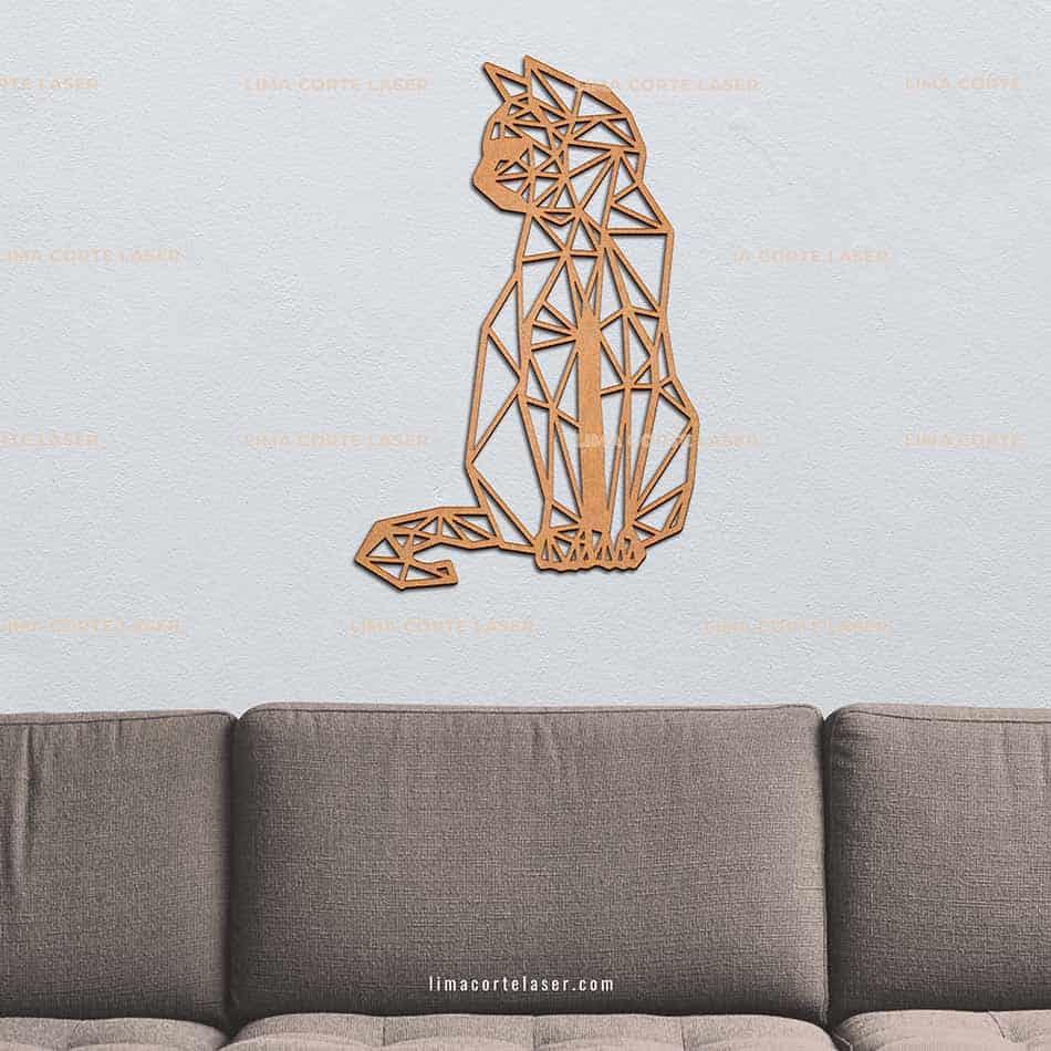 Animal geométrico de madera con forma de gato