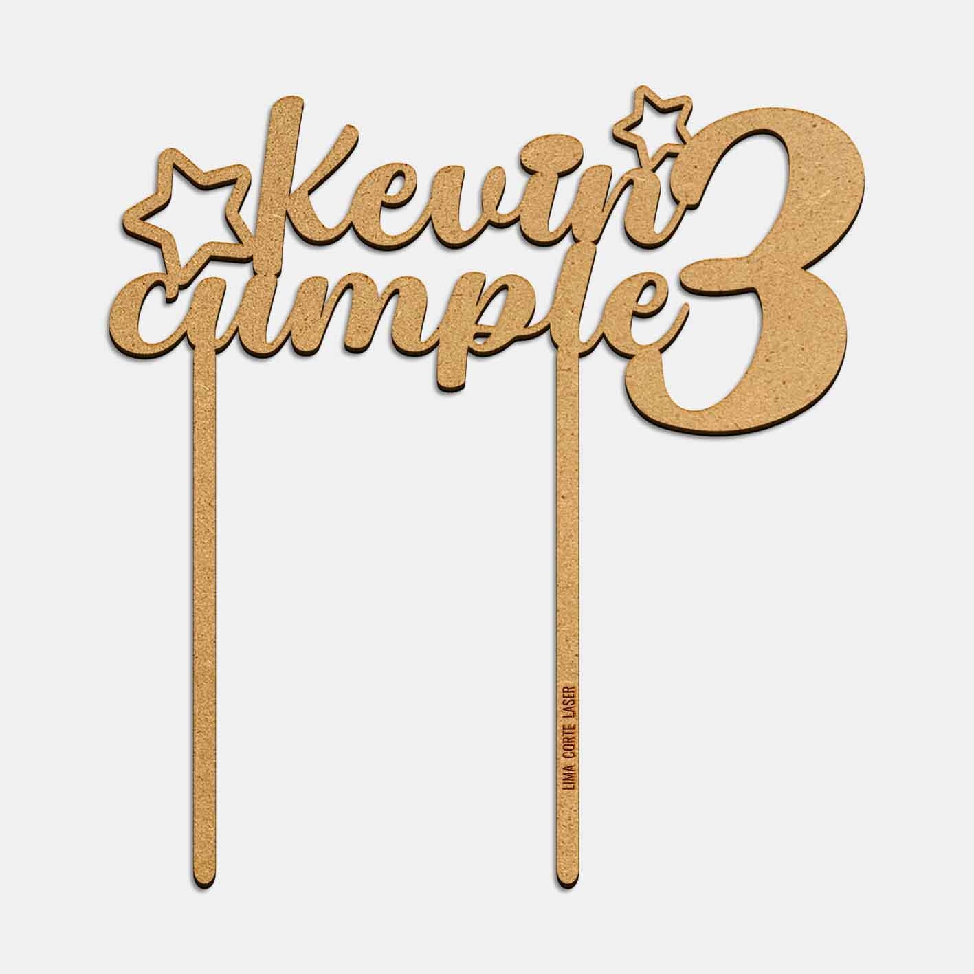 Topper kevin cumple 3 años lima corte láser
