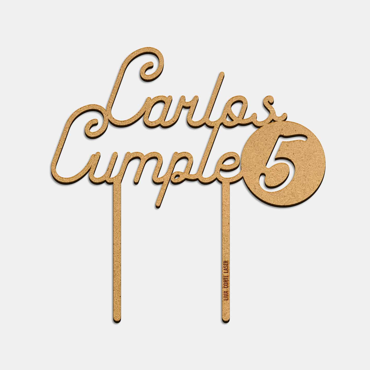 Topper nombre Carlos cumple 5 años