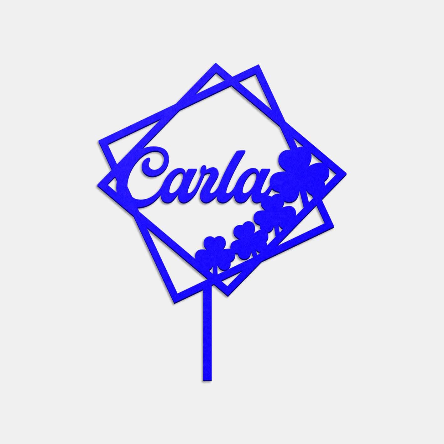 Topper de acrílico con diseño cuadrado y trébol de Lima Corte Láser