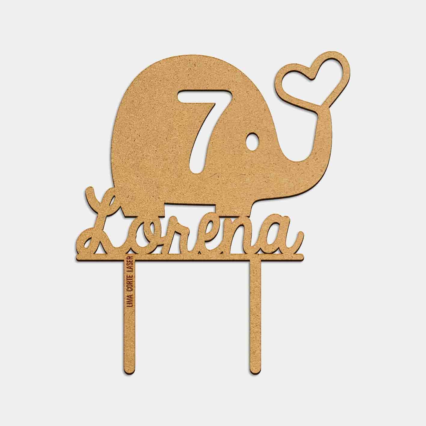 Topper personalizado con forma de elefante y corazón de Lima Corte Láser