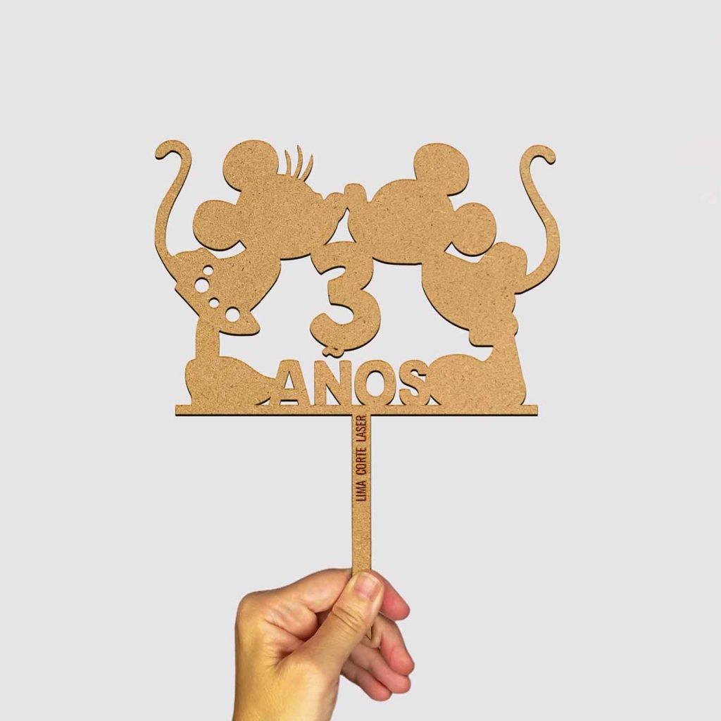 Topper personalizado de Mickey y Minnie de Lima Corte Láser